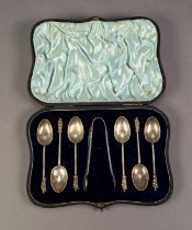 VICTORIAN CASED SET OF SIX SILVER APOSTLE TOP TEASPOONS AND MATCHING SUGAR TONGS, in Morocco case