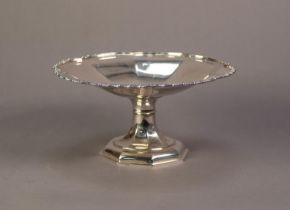MAPPIN AND WEBB 'PRINCES PLATE' PEDESTAL CAKE DISH, octagonally panelled with scolloped fancy