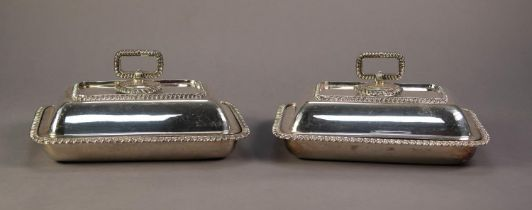 PAIR OF WALKER AND HALL ELECTROPLATE OBLONG ENTREE DISHES AND COVER, with removable handles, bold