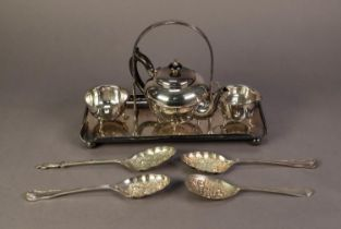 PRE-WAR ELECTROPLATED THREE PIECE TEASET, on oblong stand with fixed carrying handle; a pair of