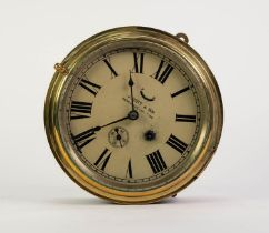 J. SCOTT & SON, NEWCASTLE UPON TYNE BRASS FRONTED SHIP?S PORT HOLE WALL CLOCK, of typical form