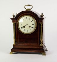 EARLY TWENTIETH CENTURY LINE INLAID MAHOGANY MANTLE CLOCK BY AD. MOUGIN, the 5? enamelled Roman dial