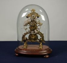 NINETEENTH CENTURY BRASS SKELETON CLOCK, the 4? silvered Roman dial powered by a single fuse