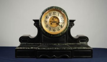 IMPRESSIVE LATE VICTORIAN BLACK SLATE MANTLE CLOCK WITH BLACK VINED MARBLE TRIM, the 7? silvered