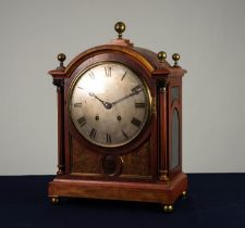 LATE 19th CENTURY MAHOGANY BRASS INLAID DOME TOP MANTEL CLOCK, the German Winterhalder & Hofmeier