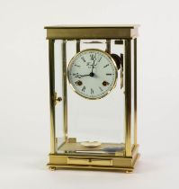 MODERN GERMAN GILT METAL FOUR GLASS MANTLE CLOCK SIGNED WOODFORD AND WITH MOVEMENT BY FRANZ