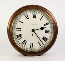 STAINED BEECH FRAMED WALL CLOCK SIGNED THOMAS SAMPSON, OLDHAM, the 12? Roman dial powered by a