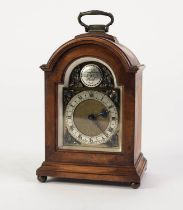 MODERN BURR WALNUT MINIATURE BRACKET CLOCK WITH FRENCH MOVEMENT, the 2 ¼? brass dial with silvered
