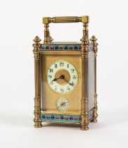 LATE NINETEENTH CENTURY GILT BRASS AND CHAMPLEVÉ OUTLINED CARRIAGE CLOCK WITH ALARM, the two