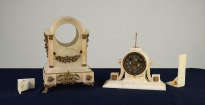 LATE NINETEENTH/ EARLY TWENTIETH CENTURY FRENCH GILT METAL MOUNTED ALABASTER MANTLE CLOCK, the