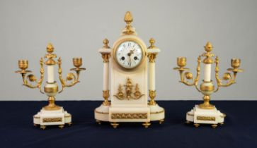 LATE NINETEENTH CENTURY FRENCH GILT METAL MOUNTED WHITE MARBLE THREE PIECE CLOCK GARNITURE, the
