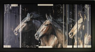 KRIS HARDY (b.1978) MIXED MEDIA ON CANVAS ?Two Horses II? Signed, titled to gallery label verso