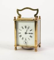 LATE NINETEENTH CENTURY FRENCH GILT BRASS CARRIAGE CLOCK WITH ALARM, RETAILED BY JOHN WANAMAKER, the