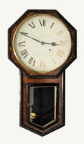 NINETEENTH CENTURY ROSEWOOD AND EBONISED DROP DIAL WALL LOCK SIGNED D. NIELD, ROCHDALE, the 13 ½?
