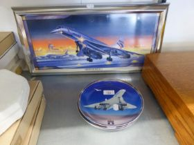 A SET OF FOUR DAVENPORT POTTERY 'CONCORDE' COLLECTORS PLATES, TOGETHER WITH A BRADFORD EXCHANGE