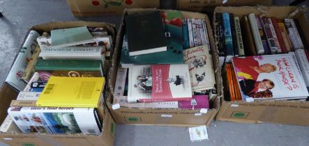 A GOOD SELECTION OF BOOKS, INCLUDING COOKERY ETC.. AND A SMALL SELECTION OF DVD's (QUANTITY)