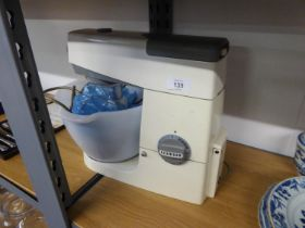 A VINTAGE KENWOOD FOOD MIXER WITH GLASS BOWL AND WHISKS