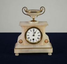 LATE NINETEENTH CENTURY FRENCH GILT METAL MOUNTED ALABASTER MANTLE CLOCK, the 3? Roman dial