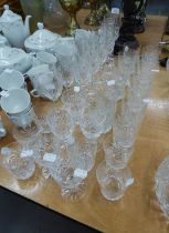 A TABLE SERVICE OF CUT GLASS, VIZ 7 LARGE TUMBLERS; 6 SMALLER TUMBLERS; 5 WHITE WINES; 6 RED