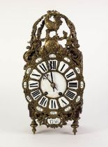 MODERN CONTINENTAL REPRODUCTION GILT METAL MOUNTED STAINED FRUITWOOD LANTERN STYLE MANTLE CLOCK, the