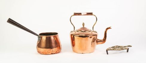 ANTIQUE SEAMED COPPER TEA KETTLE, together with a COPPER SAUCEPAN WITH CAST IRON LONG HANDLE,
