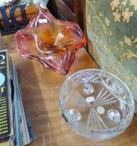 A LARGE RED/ORANGE STUDIO GLASS BOWL IN THE SHAPE OF A FLOWER AND A CUT GLASS BOHEMIA FRUIT BOWL