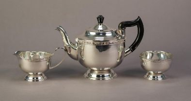 THREE PIECE VINERS ELECTROPLATED PEDESTAL TEA SET, of circular form with slender floral borders