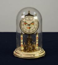 ?LOUIS PHILIPPE? FLORAL PAINTED AND GILT BRASS ANNIVERSARY CLOCK, with 3 ¼? Arabic dial and glass