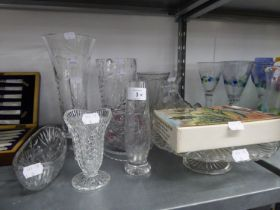 GOOD STUART CUT GLASS AND FLORAL ENGRAVED TAPERED FLOWER VASE; A BOXED SET OF TWO GLASS CORN ON