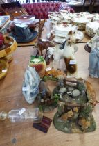 A SELECTION OF ANIMALS ORNAMENTS TO INCLUDE; MAINLY FOXES, ALSO HORSES, DOLPHINS AND A JEMA