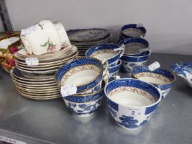 A BOOTH'S 'REAL OLD WILLOW' PATTERN BLUE AND WHITE PART TEA SERVICE, APPROX 37 PIECES