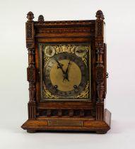 LATE NINETEENTH CENTURY GERMAN OAK LARGE PRESENTATION MANTLE CLOCK BY WINTERHALDER & HOFMEIER, the