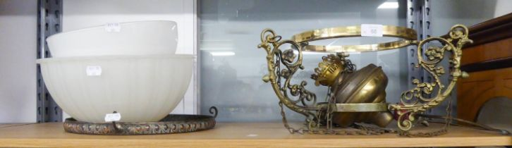 GILT METAL AND WHITE MOULDED GLASS OIL STYLE ELECTRIC CEILING LIGHT, AND ANOTHER WITH BOWL SHAPED
