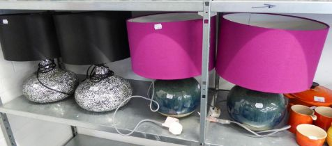 TWO SILVERED GLASS TABLE LAMPS WITH BLACK SHADES AND TWO BLUE/GREEN POTTERY TABLE LAMPS WITH