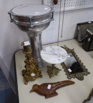 A CAST BRASS CANDLESTICK, A CAST BRASS FRAMED MIRROR, AN INDIAN CARVED WOODEN SHEATHED STEEL BLADE