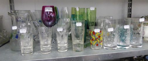LARGE STEM WINE GOBLETS, VARIOUS AND MISCELLANEOUS DRINKING GLASSES