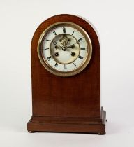 EDWARDIAN LINE INLAID MAHOGANY MANTLE CLOCK, the 5? two part enamelled Roman dial with visible