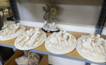 A SET OF FOUR MODERN WHITE RESIN OVAL WALL PLAQUES, EMBOSSED IN FREE RELIEF WITH A LADY AND