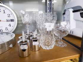 FOUR PAIRS OF GLASS STEM WINE GOBLETS; TWO SMALL CUT GLASS VASES; A GLASS TABLE BELL; TWO SMALL