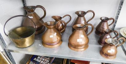 A COMPOSITE SET OF EIGHT VICTORIAN AND LATER COPPER IMPERIAL ALE MEASURES, 1 GALLON AND SMALLER,