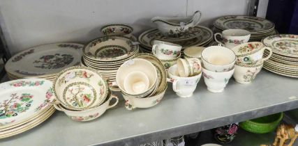 'INDIAN TREE' PATTERN TEA AND DINNER SERVICE OF 64 PIECES AND A BONE CHINA TEA CUP AND SAUCER