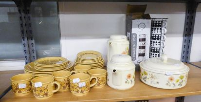 BILTONS, STAFFORDSHIRE, POTTERY YELLOW AND FLORAL POTTERY PART DINNER AND TEA SERVICE, ORIGINALLY