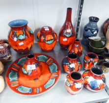 TEN PIECES OF MODERN POOLE POTTERY OF 1970's REVIVAL STYLE, A WEST GERMAN POTTERY VASE, DENBY AND
