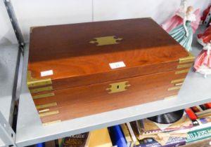 A NINETEENTH CENTURY BRASS BOUND MAHOGANY WRITING BOX