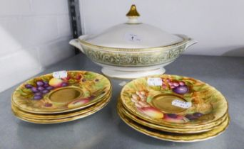 ROYAL DOULTON CHINA 'ENGLISH RENAISSANCE' PATTERN TWO HANDLED OVAL TUREEN AND COVER, AND A SET OF