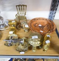 A BRASS TOILET PATTERN ASHTRAY; A BRASS PIG ORNAMENT; SIX OTHER BRASS ORNAMENTS; A CORKSCREW AND A