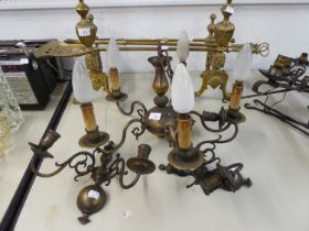 DUTCH STYLE FIVE BRANCH BRASS ELECTROLIER, AND A SIMILAR PAIR OF WALL LIGHTS, (3)