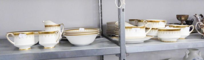 PARAGON CHINA 'ATHENA' DINNER AND TEA SERVICE, WITH GILT BANDED AND PATTERNED BORDERS, FOR SIX