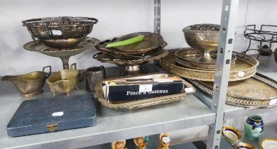 QUANTITY OF EARLY TWENTIETH CENTURY AND LATER ELECTROPLATE INCLUDING; TWO HANDLE GALLERY TRAY, TWO