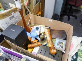TURNED WOODEN LAMP, WOODEN CARVED MUSIC BOX, BUSH RADIO, BRASSWARES, FLASK (BOXED), MONEY BOX, OLD